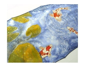 Koi carps fishpond painted silk scarf or wall decoration Animal silk scarf
