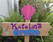 Wood LITTLE MERMAID Grotto Sign - Welcome Sign - Ariel Sebastian Flounder - Outdoor Post - Birthday Party Decorations