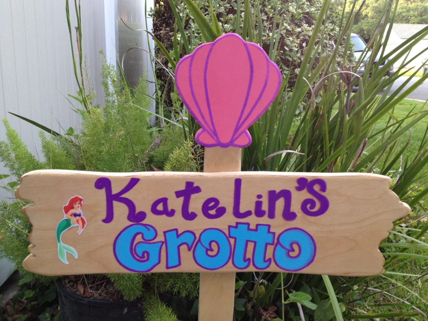 wood little mermaid grotto sign welcome sign ariel