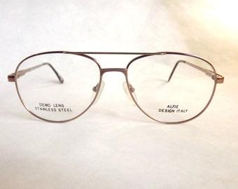 Mens Aviator Eyeglasses, Bronze Stainless Steel Vintage Metal Frames