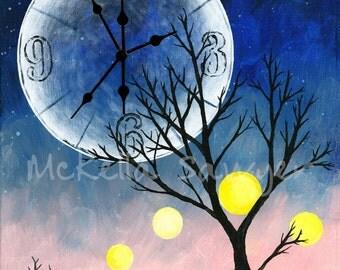 8X10 Art Print-Tree and Moon Clock-Sunrise-Tree Print-Tree Painting-Tree Print