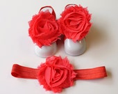 Coral Baby Barefoot Sandals with Shabby Flower and Matching Headband (45)