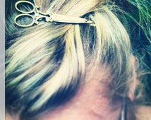 Hair dresser gift Bronze Scissor Necklace with matching Bobby pin gift / present / hairdresser / hair stylist