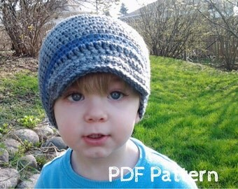 PATTERN:  Wiseguy Hat- Easy Crochet PDF, InsTanT DownLoaD, Newborn to Adult, newsboy visor beanie, Permission to Sell