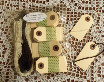 """Manila Tags, 100 Small Manila Tags,  2 3/4"""" x 1 3/8"""" - Gift Tags, Wish Tags, Blank, Strings:  Natural, Chocolate or Half of Each Color"""