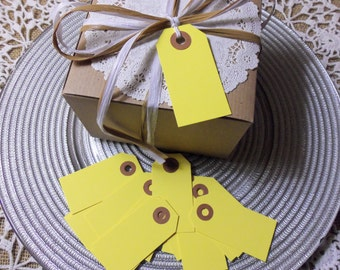 """50 YELLOW Tags,  Small, 2 3/4"""" x 1 3/8"""" - Gift, Parcel, Wish Tags, Blank"""