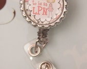 Badge Holder - Badge Reels - Retractable ID Holder - LPN Bottle Cap- Rosette Flower Retractable Badge Reel