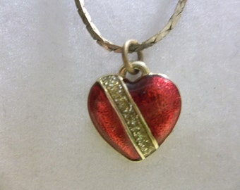 Vintage Red Enamel Heart Necklace with Diamond Accents