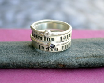 Mother's Birthstone and Double Name Ring Stacking Set in Sterling Silver, Stacking birthstone ring, Stacking name ring, Mother's Ring set