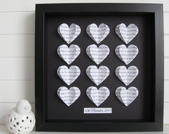 Personalised Heart Frame Gift / Customise with a Song Names Dates or Memories / Wedding, Engagement, Anniversary