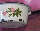 Great Vintage Look in White Porcelain Enamel, Pretty Pink Roses All On A Chippy Small Sauce Pot