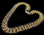 HOLD for LYNNE/BT Vintage Choker Necklace Golden Links Chainmaille Hearts Motif Splendid Design