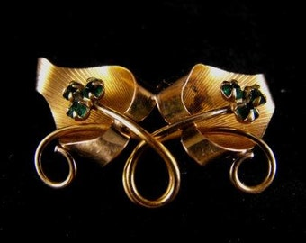 Vintage Brooch Lucky Charm 1/20 12k Yellow Gold Fill Emerald Rhinestones