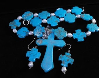 Vintage Necklace Earrings Howlite Turquoise Color Freshwater Pearls