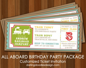 Printable Train Birthday Party - All Aboard Birthday Party - Train Invitations - Train Party Package - DIY Train Party - Choo Choo Printable