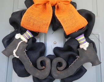 Burlap Halloween Wreath Bubble Wreath with Primitive Witch Boots PAIR - (customize the colors)Swamp Water Line