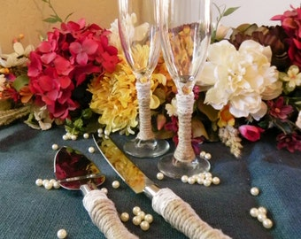 Full SET Jute Wrapped Cake Servers and Mr. and Mrs. Toasting Glasses - choose your design and colors