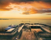Vintage effect photo print of a beautiful sunset in a harbor, HDR art landscape photography, print to frame for your wall, Tallinn, Estonia