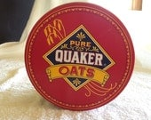 1983 Limited Edition Pure Quaker Oats Tin Container Famous Oatmeal Cookie Recipe