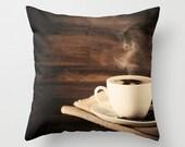 Pillow cover, coffee pillow, coffee art, fall pillow,white pillow, brown pillow,black pillow, french decor, rustic decor, office decor