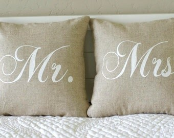 Mr. and Mrs. Pillow Cover, f Mr. or Mrs., each 16x16, set of 2 or 3, black or vintage white writing on Natural Linen