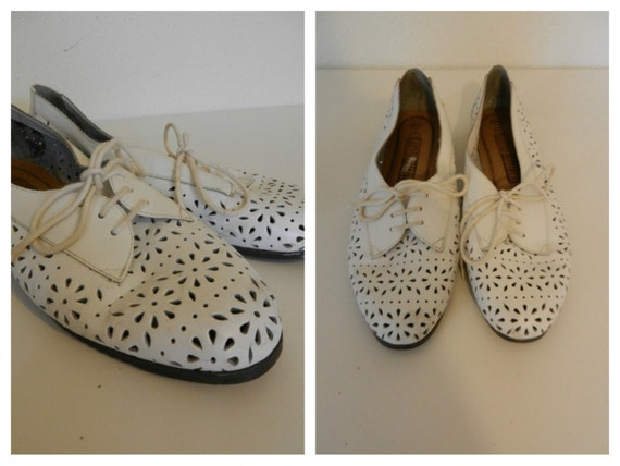 Vintage White Oxford Shoes- Flats- Cut Out- Womens 9 9.5