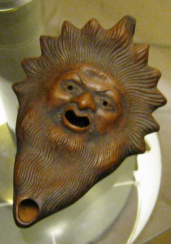 Ancient Greek Sun God Zeus Clay Oil Lamp Vintage Replica Made