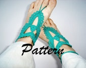 Pattern Foot Jewelry Anklet, Lace crochet anklet pattern., nude shoes, barefoot  sandals, wedding accessories, DO IT YOURSELF..