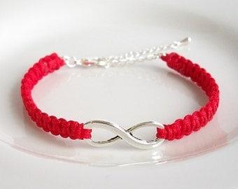 Red Silver Infinity Charm Bracelet, Silver Infinity Bracelet, Adjustable Macrame Bracelet, Friendship Infinity Bracelet