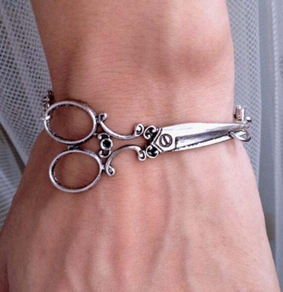 Hairstylist jewelry Antique Silver scissor bracelet - victorian ...