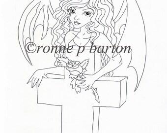 img023 instant download digital stamp digi cute gothic dark fantasy line art fairy goth cartoon. Black Bedroom Furniture Sets. Home Design Ideas
