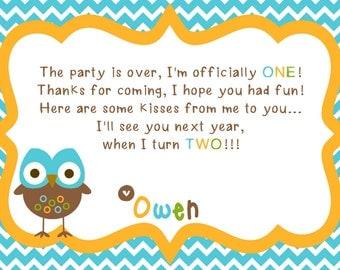 Hoot Owl First Birthday Printable Thank You