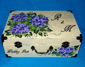 Hand Painted Wedding Suitcase Card Box Wood Wedding Keepsake Box Decorative Wood Trunk Gift Card Boxes Personalized Bridal Distressed White
