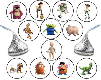 216 Assorted TOY STORY Hershey KISS Stickers Labels Birthday Party Favors Candy Woody Jessie Buzz Lightyear Lotso Bear Big Baby Bullseye