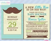 Little Man Mustache Baby Shower Invitations (188) | Set of 12 Printed Invitations