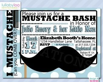 Mustache Baby Shower Invitations - Printed Invitations - Custom Invitations