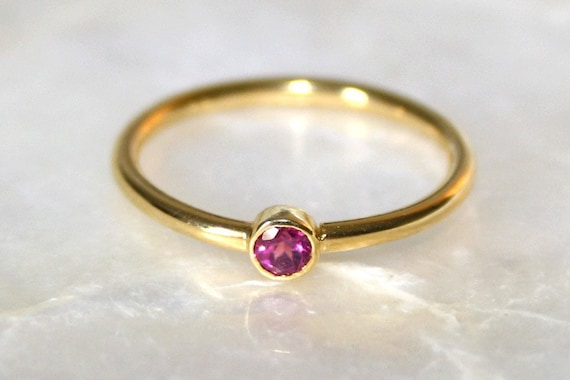 Pink tourmaline and 18k gold shiny finish stacking ring, Solitaire pink tourmaline ring, Engagement ring