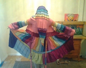 Rainbow dream coat upcycled (made to order)