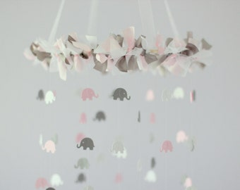 Pink Gray Mobile Elephant Mobile- Crib Mobile, Baby Shower Gift, Nursery Decor