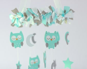 OWL Nursery Mobile in Aqua, Gray & White- Baby Mobile, Crib Mobile, Baby Shower Gift