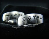 2 Rings - Customized Couples Rings - Matching 6mm Brushed Stainless Steel Rings