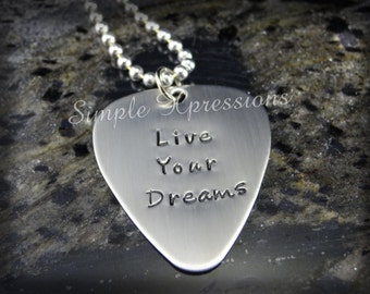 Custom Guitar Pick - Personalized Hand Stamped Stainless Steel Pick