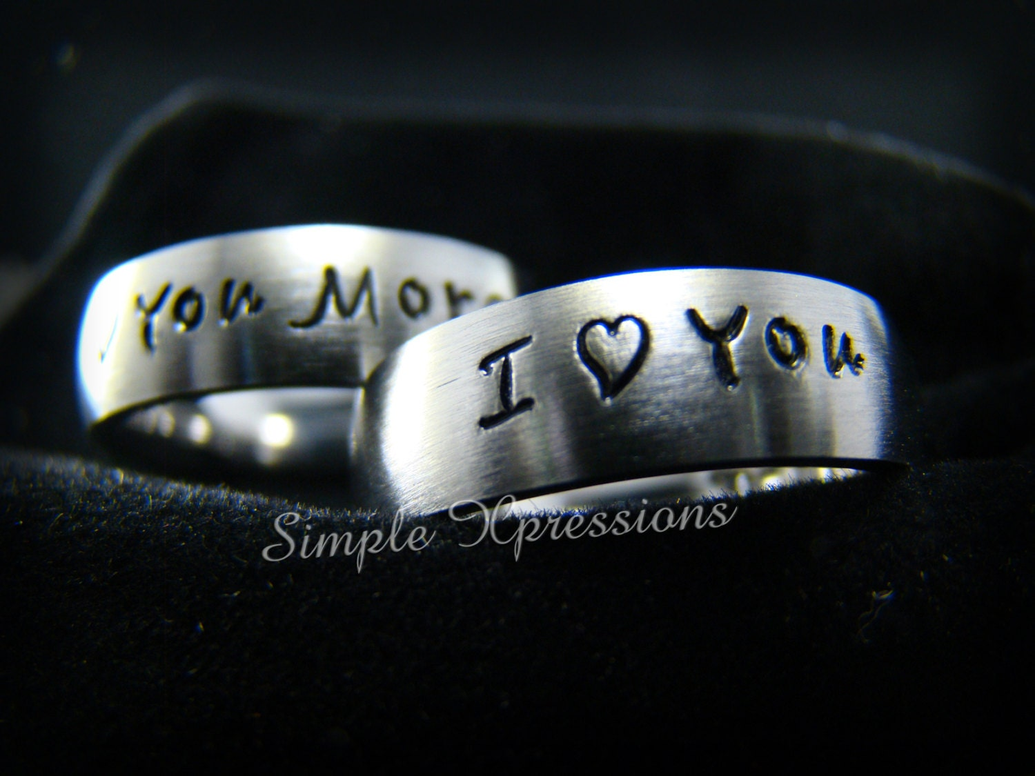 2 Rings Customized Couples Rings Matching 6mm Brushed