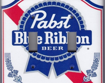 Pabst Blue Ribbon Beer Switchplate Cover - Double Regular size (448)