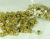 Letter Beads Gold Color Black letters cube bead 200 pieces 6x6mm Side Drill square beads Craft Supply Alphabet  beads