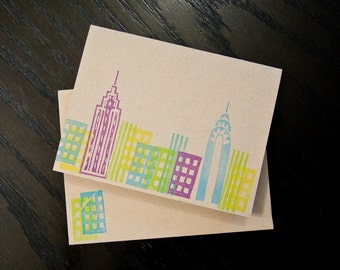 Handmade NYC Skyline Cards / Stationery (set of 5)