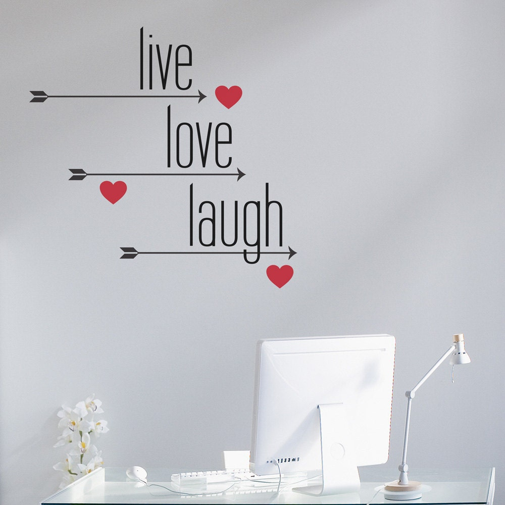 live love laugh wall decal sticker typography decal love. Black Bedroom Furniture Sets. Home Design Ideas