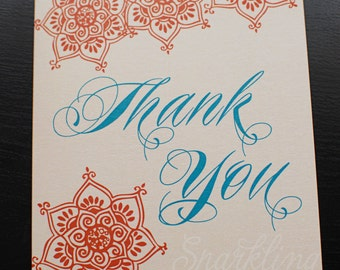 Bollywood or Middle Eastern Inspired Thank You Card- PRINTABLE