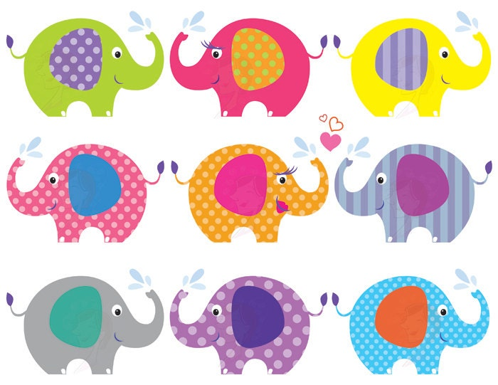 Elephant Clip Art Baby Shower Graphics Animals by ...