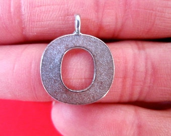 "1 ANTIQUE Pewter  INITIAL ""O""  Pendant/Charm"